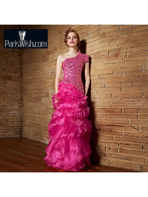 3b914f2b121 One Shoulder Short Sleeve Ruffled Hot Pink Prom Dresses With Sequin Bodice