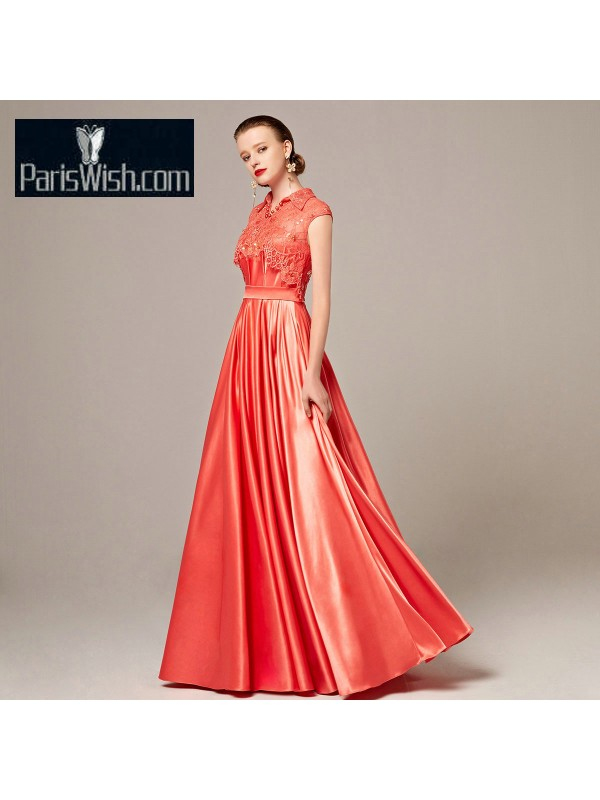Satin Lace High Collar Water Melon Vintage Prom Dresses Mother Of ...