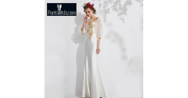 Satin Mermaid Long Sleeves White Prom Dresses With Gold Embroidery