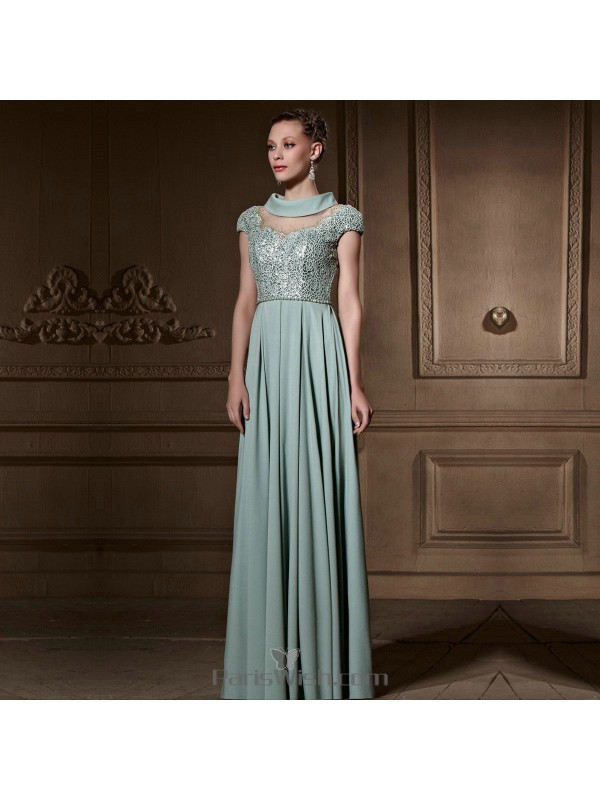 Sequin Lace Chiffon Light Blue Mother Of The Bride Gowns Elegant ...