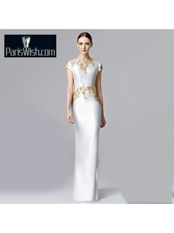 Sheath Beaded White Prom Dresses With Gold Embroidery