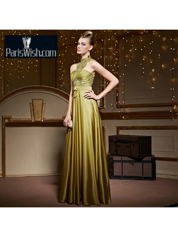 6a6f086d3c Sheath Satin Long Olive Green Prom Formal Dress With Illusion Top