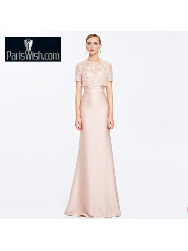 Strapless Pink Satin Evening Prom Dresses Mother Of The Bride Gown With Jacket