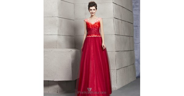 Tulle A Line Multi Color Red Shade Unique Prom Formal Dresses