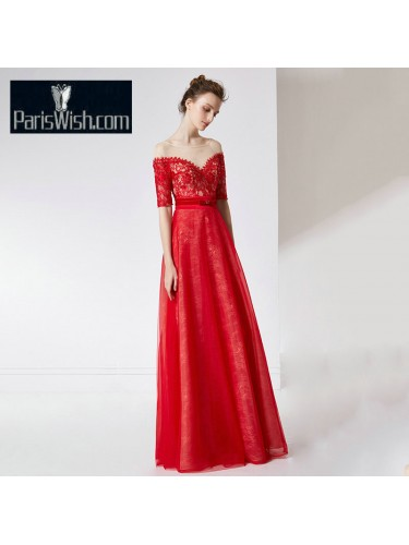 Tulle Lace Illusion Neckline Red Ball Gown Prom Dresses With Sleeves