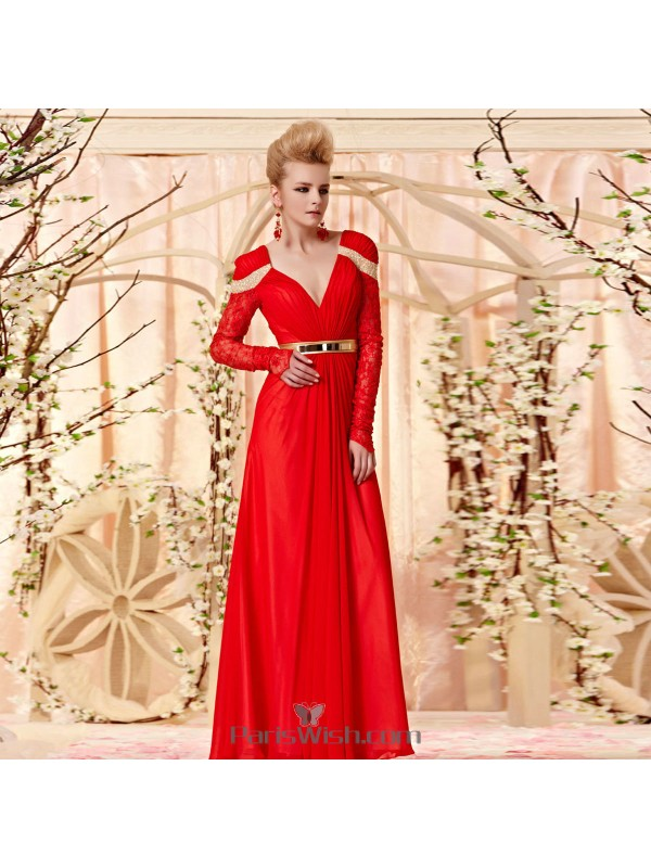 V Neck Chiffon Sequin Red Long Sleeves Prom Formal Dresses