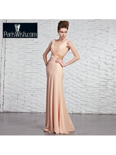 V Neck Chiffon Sheath Nude Pink V Back Prom Evening Dresses