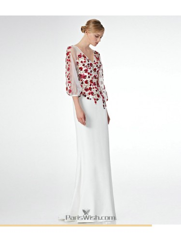V Neck Chiffon White Prom Dresses With Sleeves And Floral Embroidery