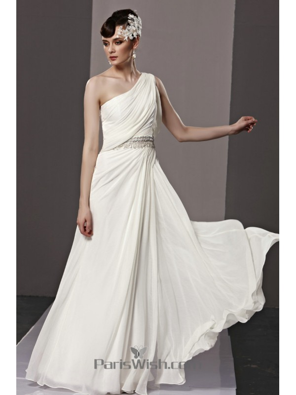 Chiffon Crystal One Shoulder White Prom Dresses Beach Wedding Gown