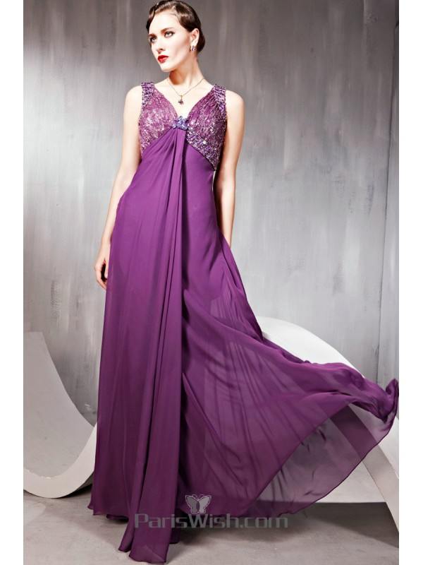 Chiffon Sequin Beaded Purple Maternity Prom Formal Dresses With Open ...