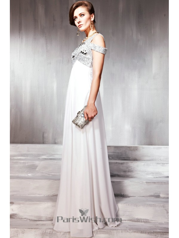 Chiffon Sequin Beaded White Maternity Prom Dresses With Jewel Straps