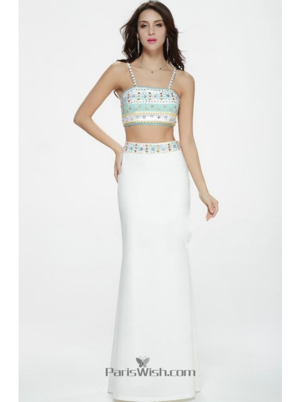 Beaded Embroidered White Two Piece Prom Dresses