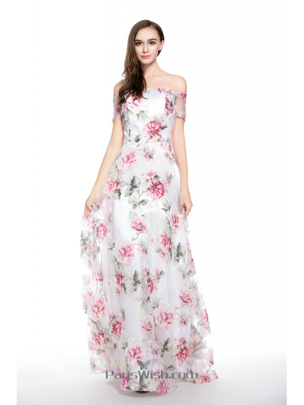 bdab41aee45 Chiffon Floral Print Prom Dresses With Off The Shoulder Neckline