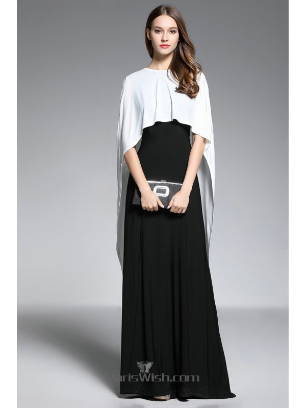 Chiffon High Neck Black Prom Formal Dress With White Cape