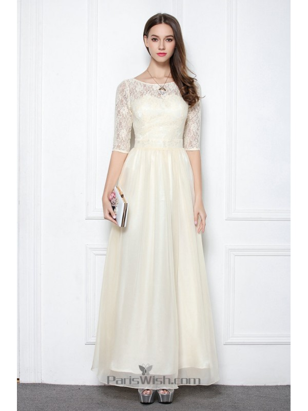 d9bd1f0c350f Chiffon Illusion Neckline Champagne Prom Formal Dresses With Sleeves
