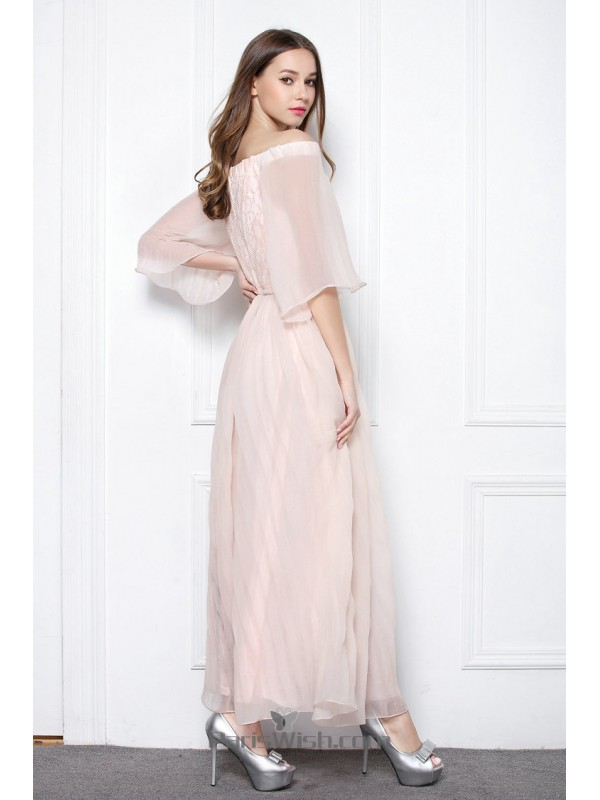 Chiffon Lace Off The Shoulder Pink Casual Dresses Summer Prom Dress
