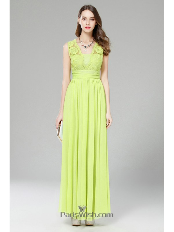 Chiffon Lace Scalloped Lace Lime Green Prom Formal Dresses