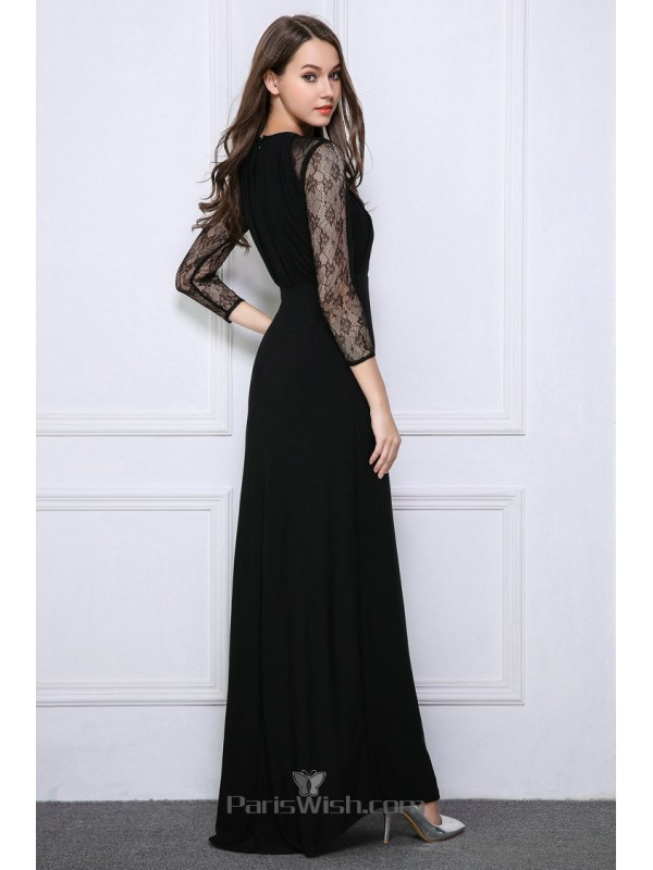 Crinkle Chiffon High Neck Lace Black Prom Dresses With Illusion Sleeves