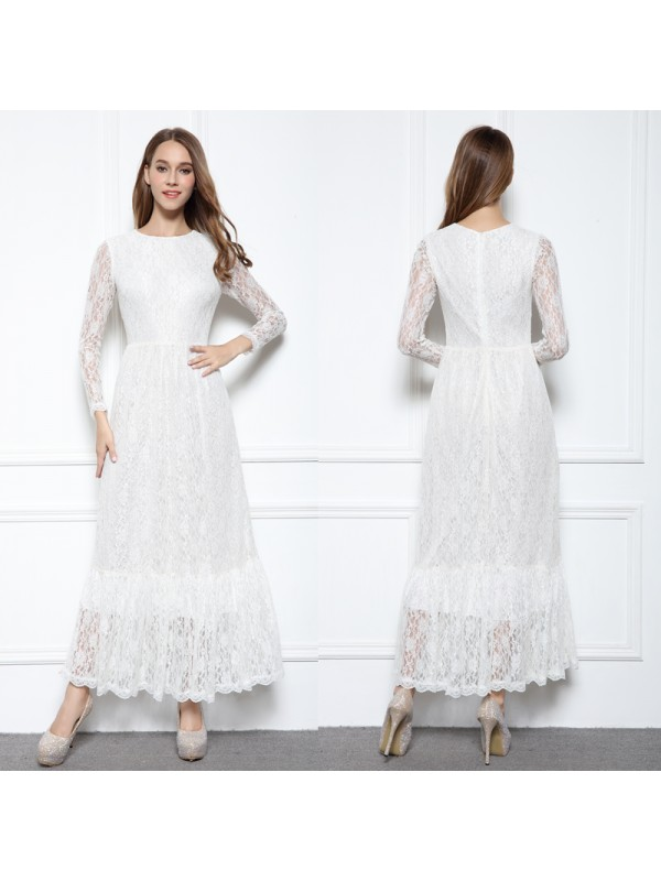 High Neck Maxi Length White Lace Mother Of The Bride Gowns