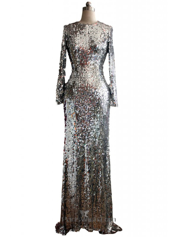 High Neck Silver Sequin Gowns With Long Sleeves