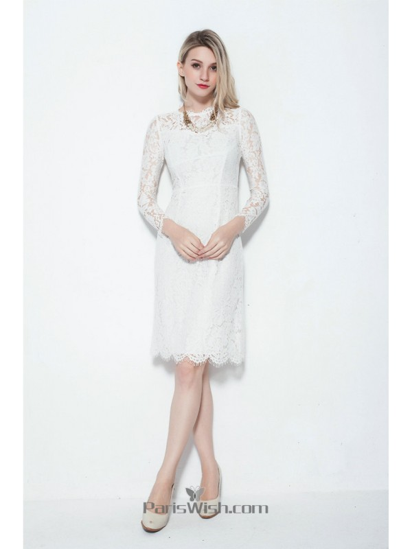 91d5b5d63efb Knee Length High Neck Lace Little White Dress With Long Sleeves