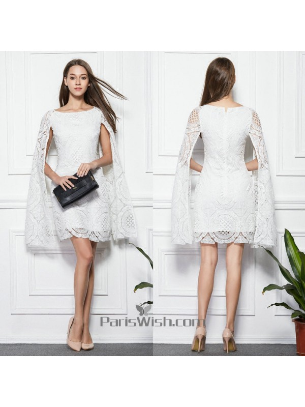 Knee Length High Neck Lace White Prom Dresses With Cape