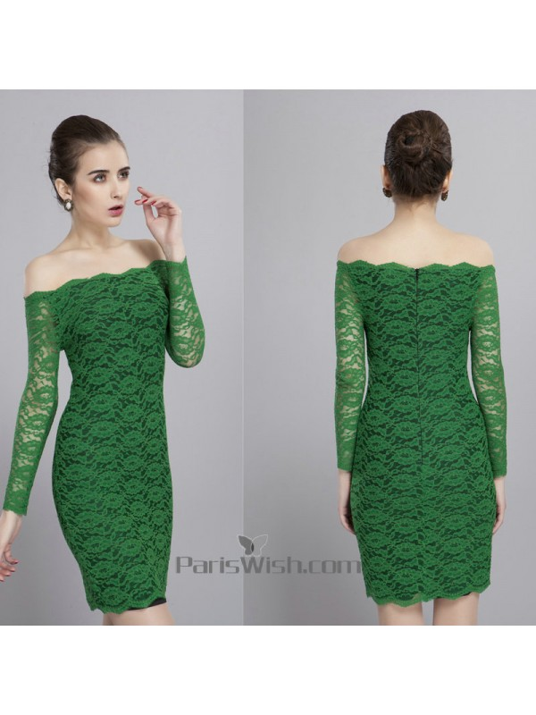 983cc1a0f09d Knee Length Scalloped Short Lace Green Prom Dresses With Sleeves