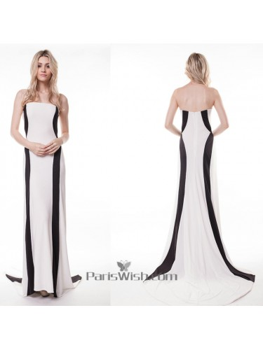 Sheath Strapless Chiffon White And Black Formal Prom Dresses