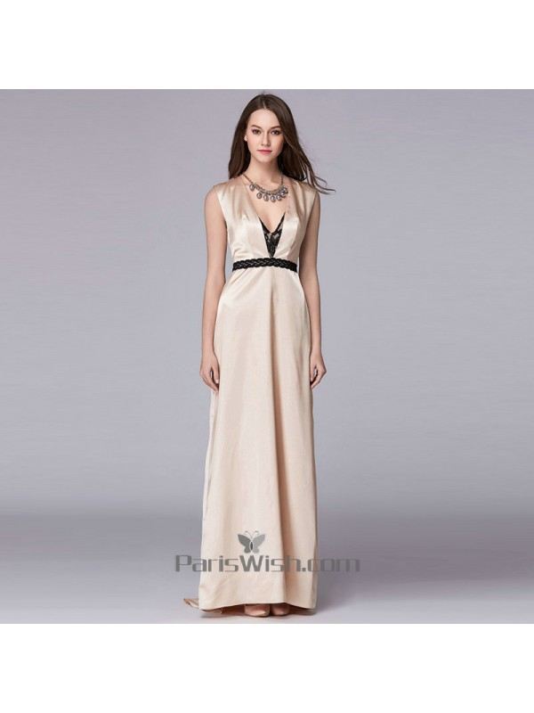 Silky Satin Nude With Black Cutout Prom Formal Dresses