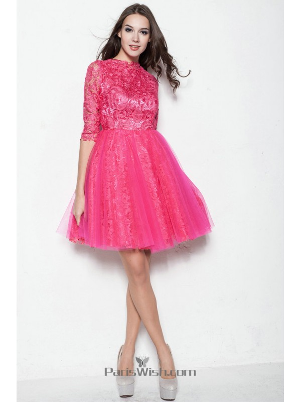 Tulle Lace Half Sleeves Hot Pink Cocktail Prom Dresses