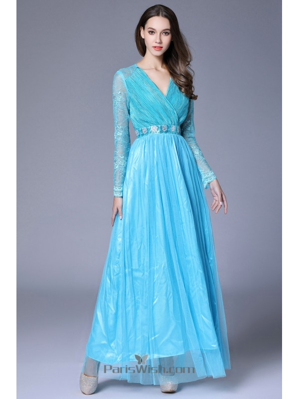 V Neck Crinkle Tulle Turquoise Mother Of The Bride Gowns Prom Dress ...
