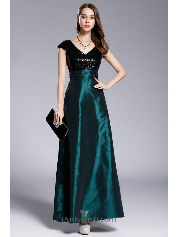 V Neck Teal And Black Prom Dresses With Sequin Top