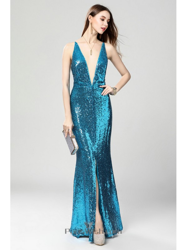 V Plunging Front Slit Turquoise Sequin Prom Formal Dresses With Low Back