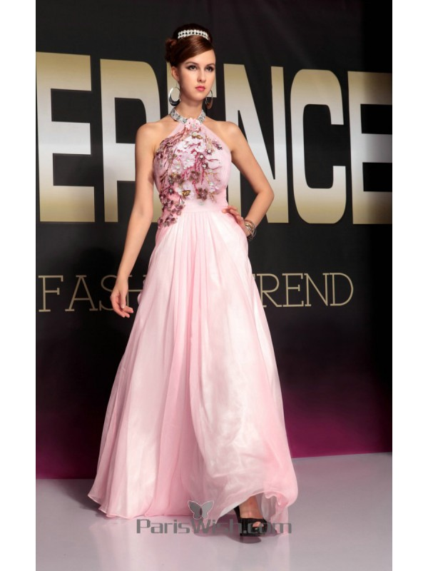 155d29ba9417 Beaded Embroidered Chiffon Halter Pink Prom Dresses