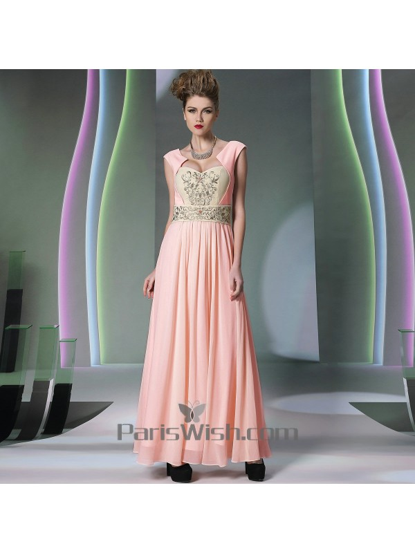 a6679193f445d Beaded Embroidered Vintage Chiffon Pink Formal Prom Dresses
