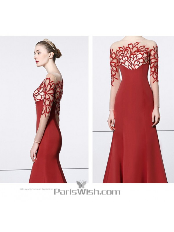 Satin Embroidered Red Mermaid Prom Formal Gowns With Sleeves And ...