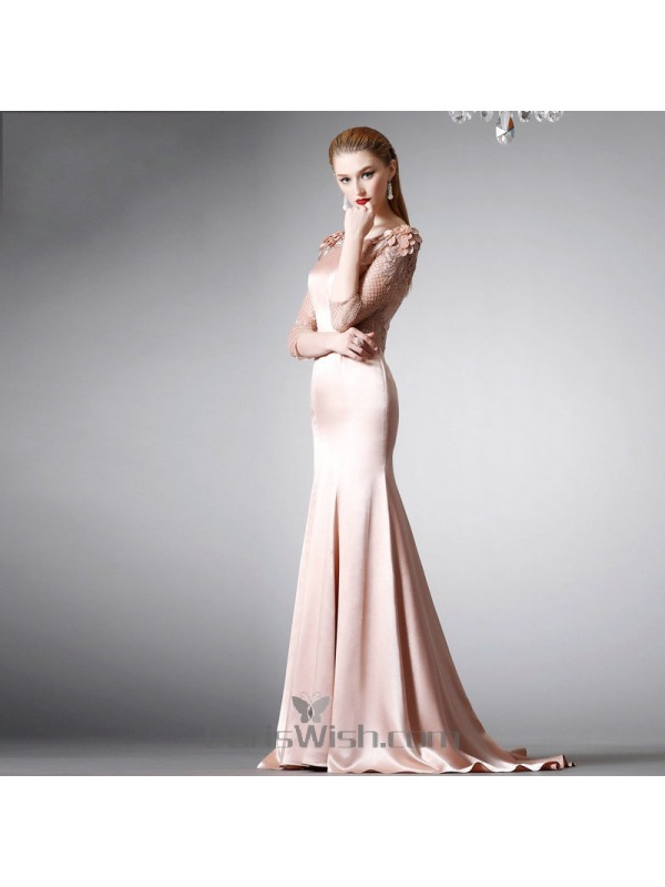 Sequin Embroidered Appliqued Nude Pink Mermaid Prom Formal Dresses