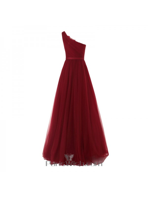 ac0ec4d10c7c Tulle Beaded Bowtie One Shoulder Burgundy Prom Formal Gowns