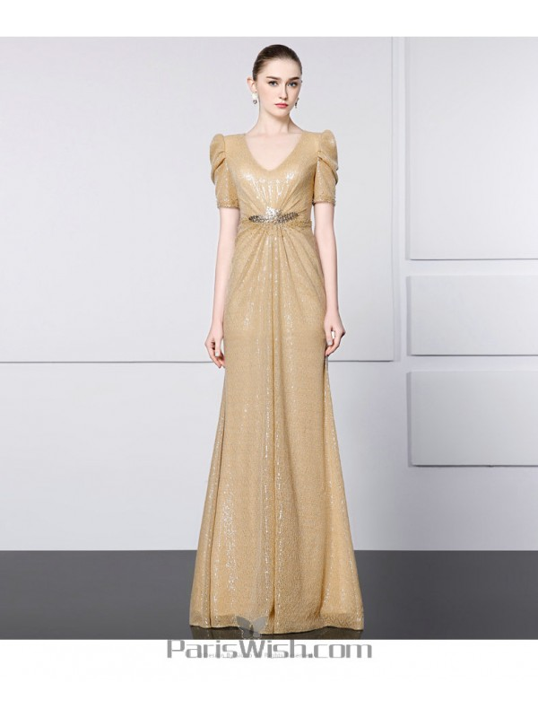 V Neck Glitter Champagne Mother Of The Bride Gowns With Sleeves