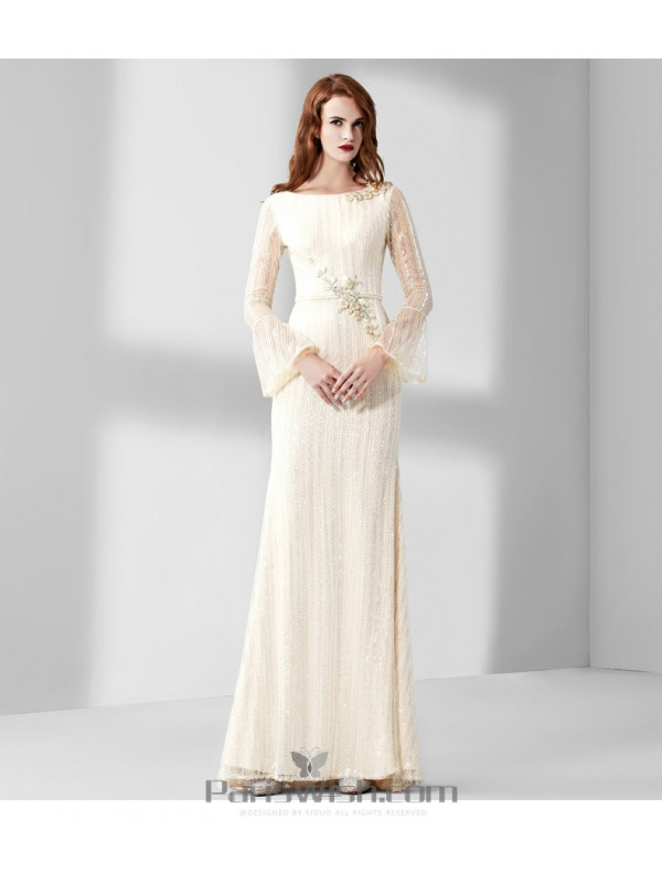 High Neck Cream Lace Mother Of The Bride Dress Prom Gowns With Sleeves