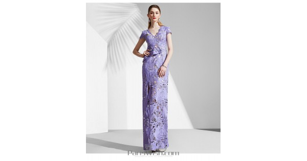 V Neck Illusion Lace Lavender Prom Dresses With Short Sleeves
