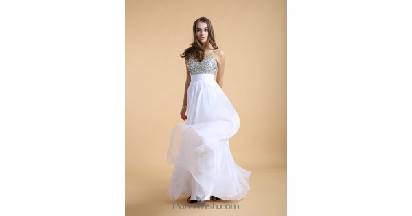 Chiffon V Neck Beaded White Prom Dresses With Low Cut Back