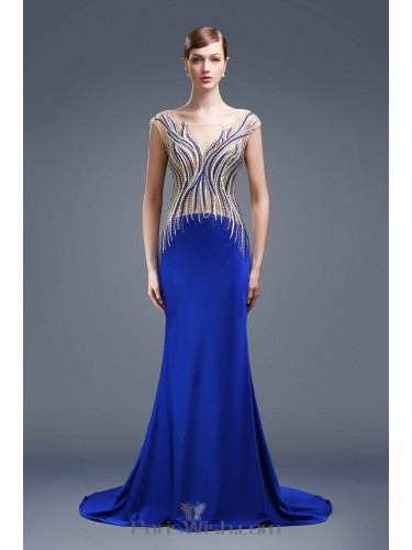 Embroidery Beaded Mermaid Royal Blue Two Toned Prom Dresses