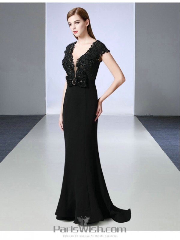 Lace Beaded Cap Sleeves Low Cut Back Black Prom Dresses