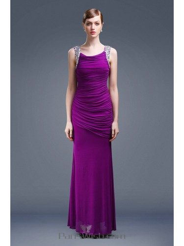 Low Back Ruched Mermaid Purple Prom Dresses