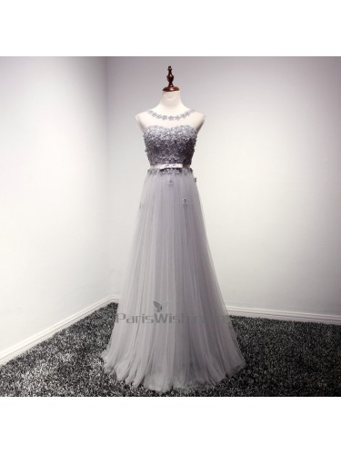 Tulle Illusion Silver Long Prom Dresses With Small Flowers