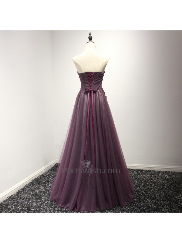Tulle Lace Beaded Long Purple Prom Dresses With Floral Details