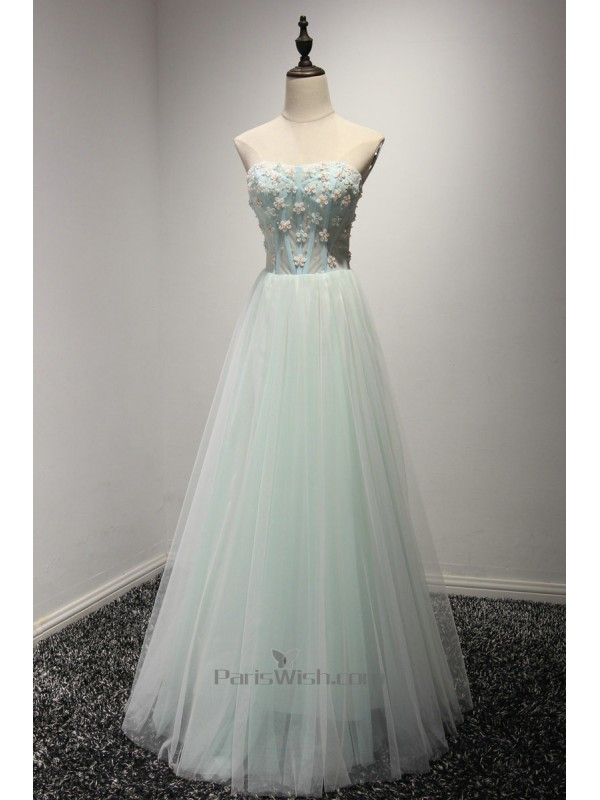 Tulle Strapless Beautiful Small Flowers Prom Dresses