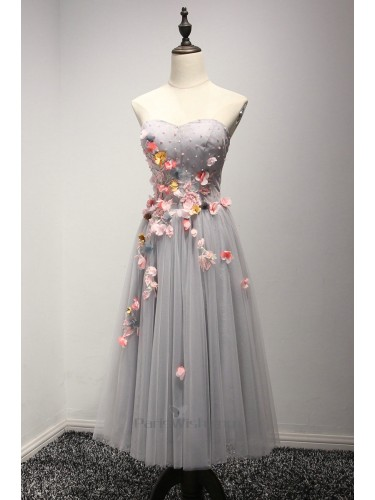 Tulle Strapless Silver Short Prom Dresses With Flowers