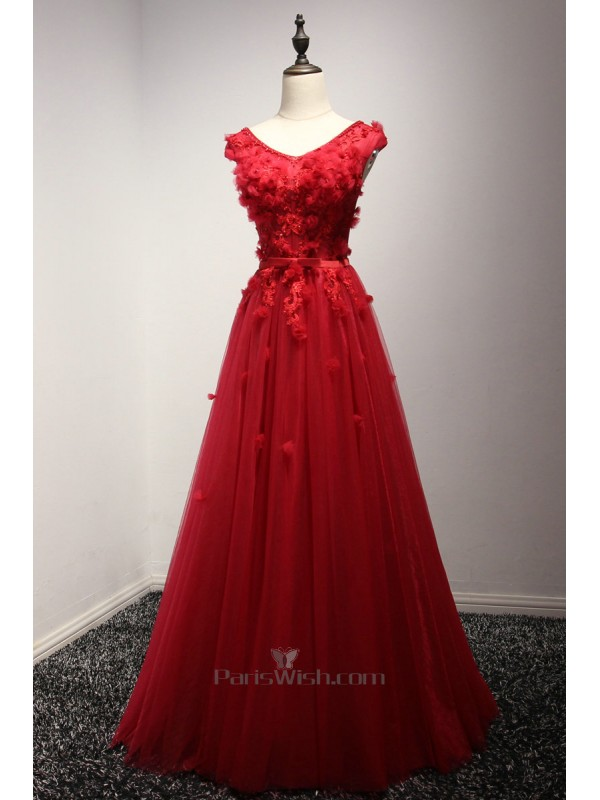 V Neck Illusion Beaded Lace Red Corset Prom Dresses